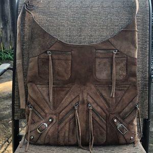 RARE Balenciaga multi-zip suede hobo messenger bag